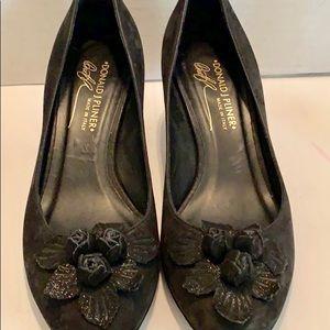 Donald J. Pliner Shoes - Donald Pliner Black Suede Detailed Toe Box Heels 8